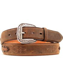 Ariat Embroidered Leather Laced Overlay Belt, , hi-res