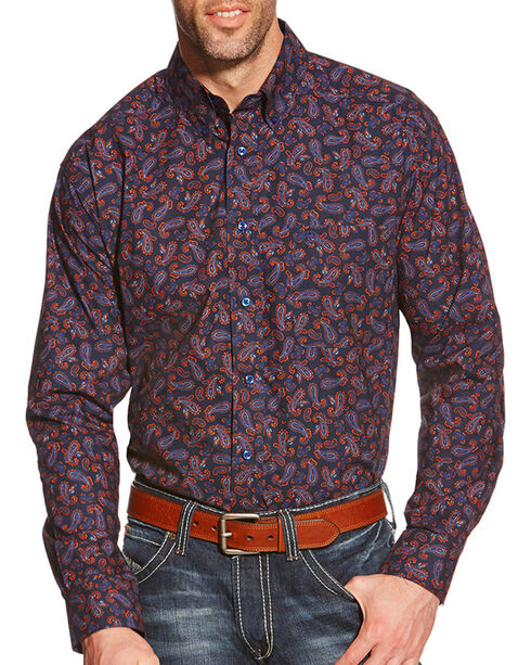 Ariat Men's Jackson Long Sleeve Shirt, Navy, hi-res