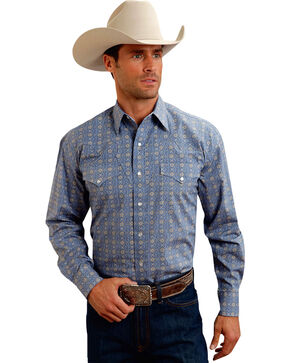 Stetson Men's Medallion Print Long Sleeve Western Shirt, Blue, hi-res