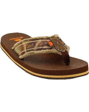 Double Barrel Men's Mossy Oak Strap Flip Flops, Brown, hi-res