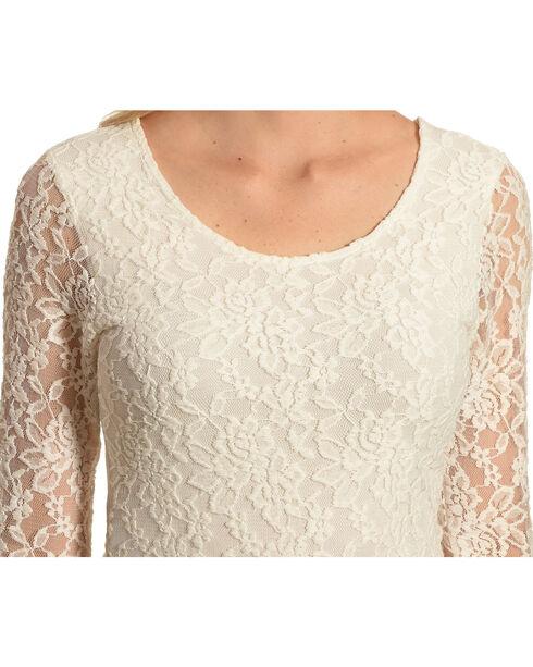 Panhandle Slim Women's Lace Knit Top, Natural, hi-res