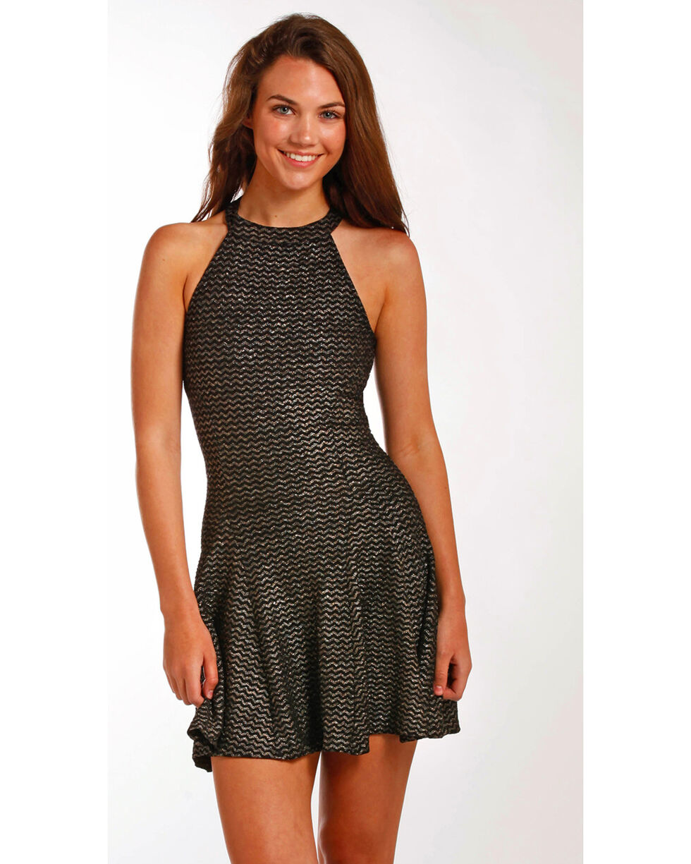Panhandle Women's Black Glitter Halter Dress , , hi-res