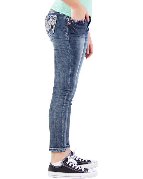 Grace in LA Girls' Embellished Faux Flap Skinny Jeans , Indigo, hi-res