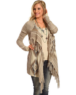 Shyanne® Women's Aztec Fringe Trim Sweater, Tan, hi-res