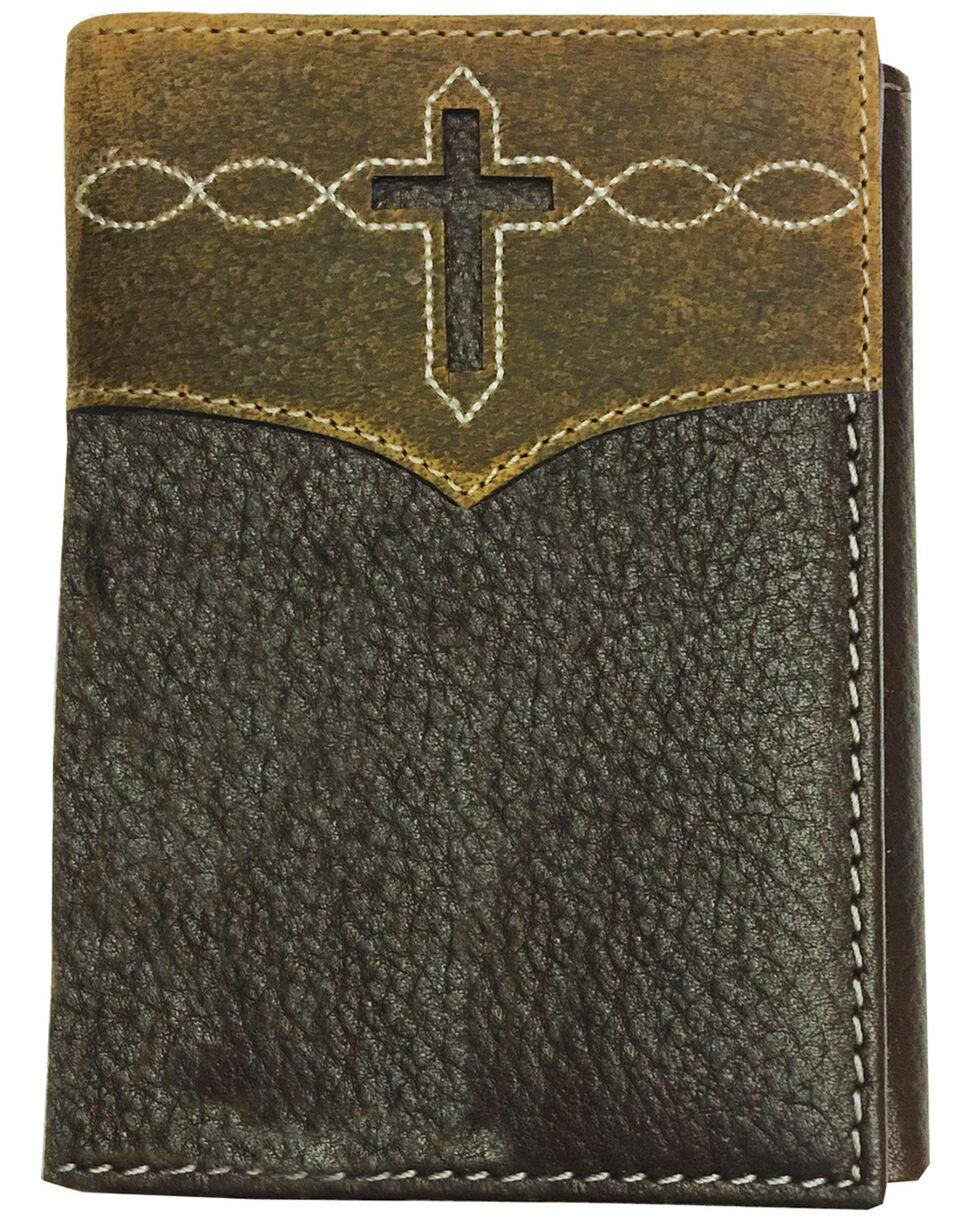 Roper Men's Brown Cut-Out Cross Tri-Fold Leather Wallet , Brown, hi-res