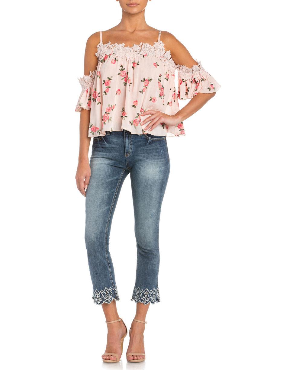 Miss Me Women's Floral Print Cold Shoulder Top , Pink, hi-res