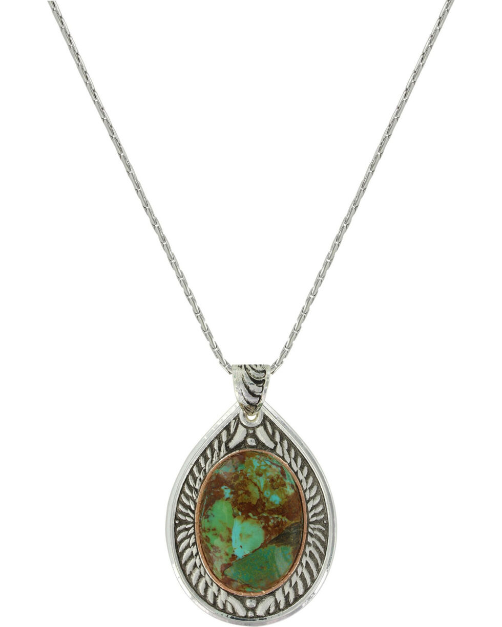 Montana Silversmiths Women's Feathered Flight Turquoise Necklace , Silver, hi-res