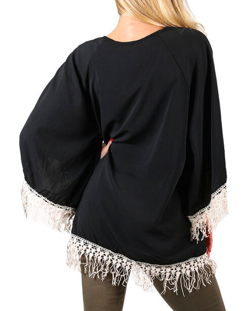 Lawman Women's Crochet Fringe Trimmed Long Sleeve Top, Black, hi-res