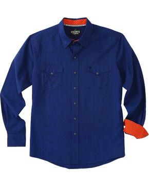 Garth Brooks Sevens by Cinch Men's Navy Blue Snaps Long Sleeve Shirt , Navy, hi-res