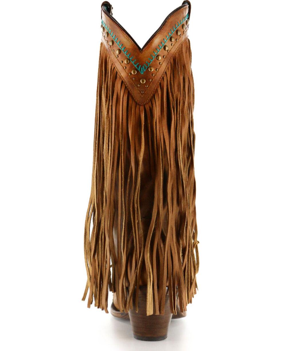 Corral Women's Aztec & Fringe Snip Toe Western Boots, Tan, hi-res