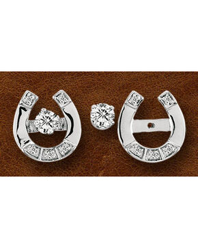 Kelly Herd Sterling Silver Horseshoe & Rhinestone Stud Earrings, Silver, hi-res