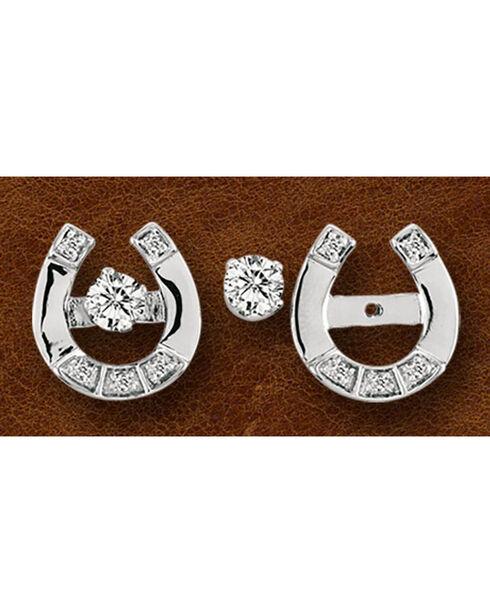 Kelly Herd Sterling Silver Horseshoe & Rhinestone Stud Earrings, Silver, hi-res