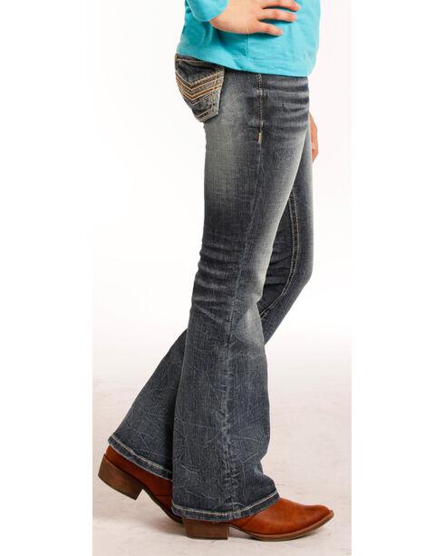 """Rock & Roll Cowgirl Girls' Indigo (7-14) Stitch """"V"""" Jeans - Boot Cut  , Indigo, hi-res"""
