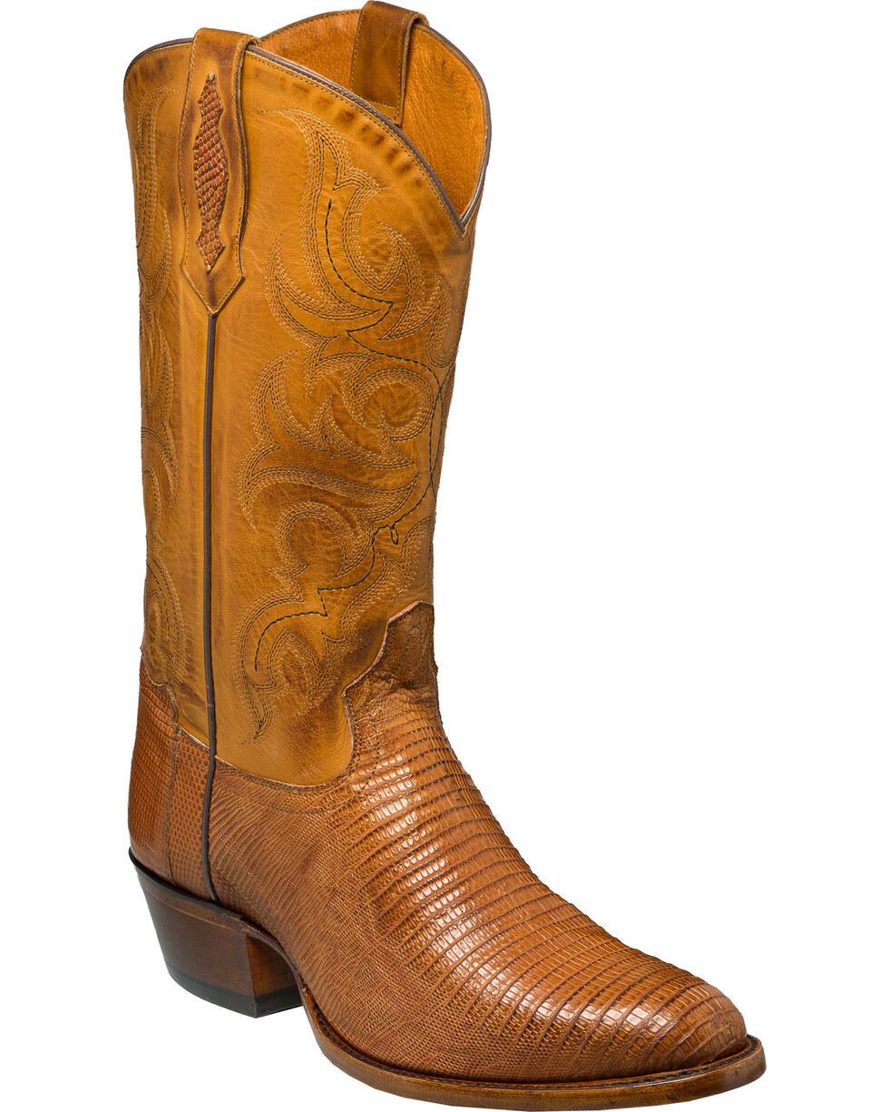 Tony Lama Men's Brandy Brilliant Teju Lizard Cowboy Boots - Round Toe, Tan, hi-res