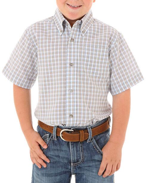Wrangler Boys' Assorted Riata Plaid Short Sleeve Shirt, Multi, hi-res