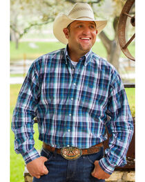 Cinch Men's Blue Long Sleeve One Pocket Plaid Shirt - Big and Tall, , hi-res