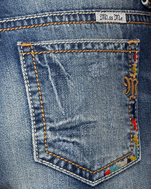 Miss Me Women's Indigo Rip Repair Embroidered Jeans - Boyfriend Ankle, Indigo, hi-res