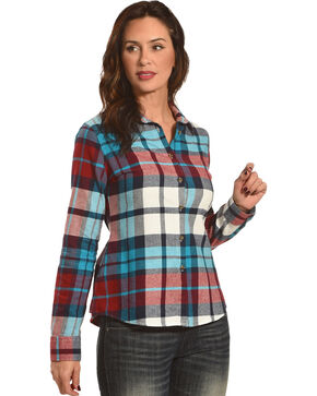 Shyanne Women's Plaid Side Button Flannel, Teal, hi-res