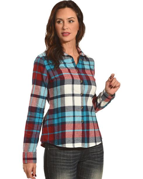 Shyanne Women's Plaid Side Button Flannel, Teal, hi-res