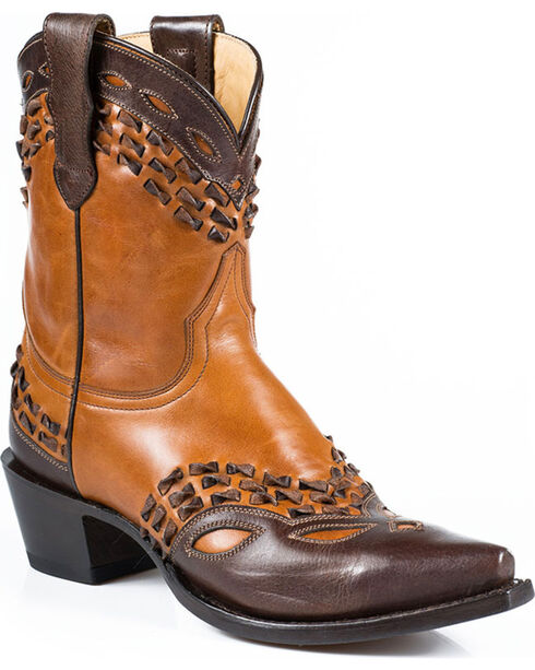 Stetson Women's Lexi Snip Toe Western Boots, Tan, hi-res