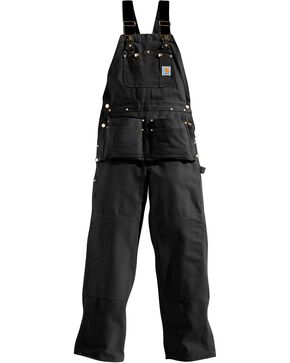 Carhartt Men's Duck Carpenter Bib Overalls, Black, hi-res