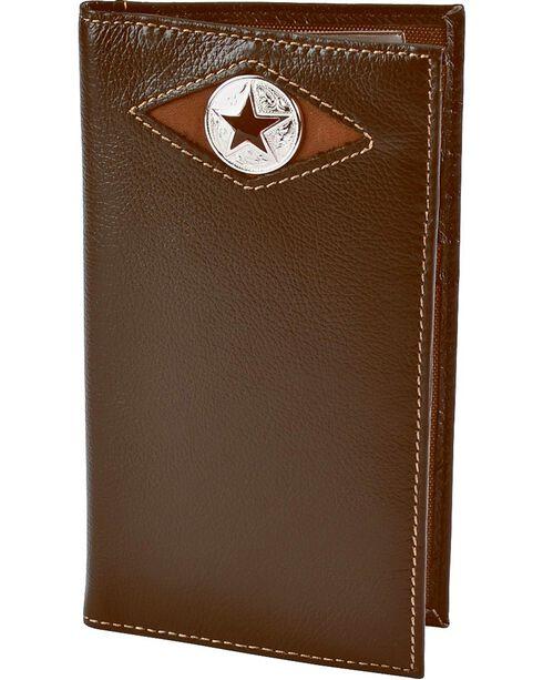 Nocona Leather Inlay Star Concho Checkbook Wallet, Brown, hi-res