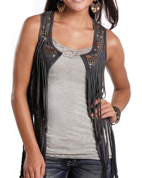 Rock & Roll Cowgirl Women's Charcoal Fringe Vest, Charcoal, hi-res