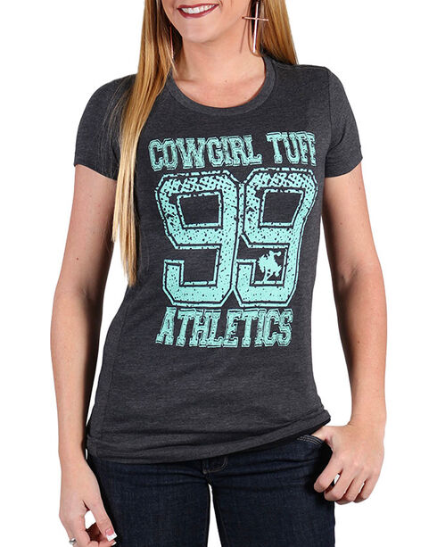 Cowgirl Tuff Women's Athletics Scoop Neck Shirt , Charcoal, hi-res