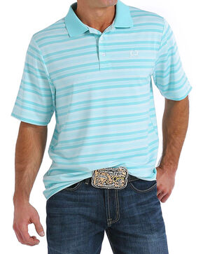 Cinch Men's ArenaFlex Light Blue Striped Tech Polo, Light Blue, hi-res