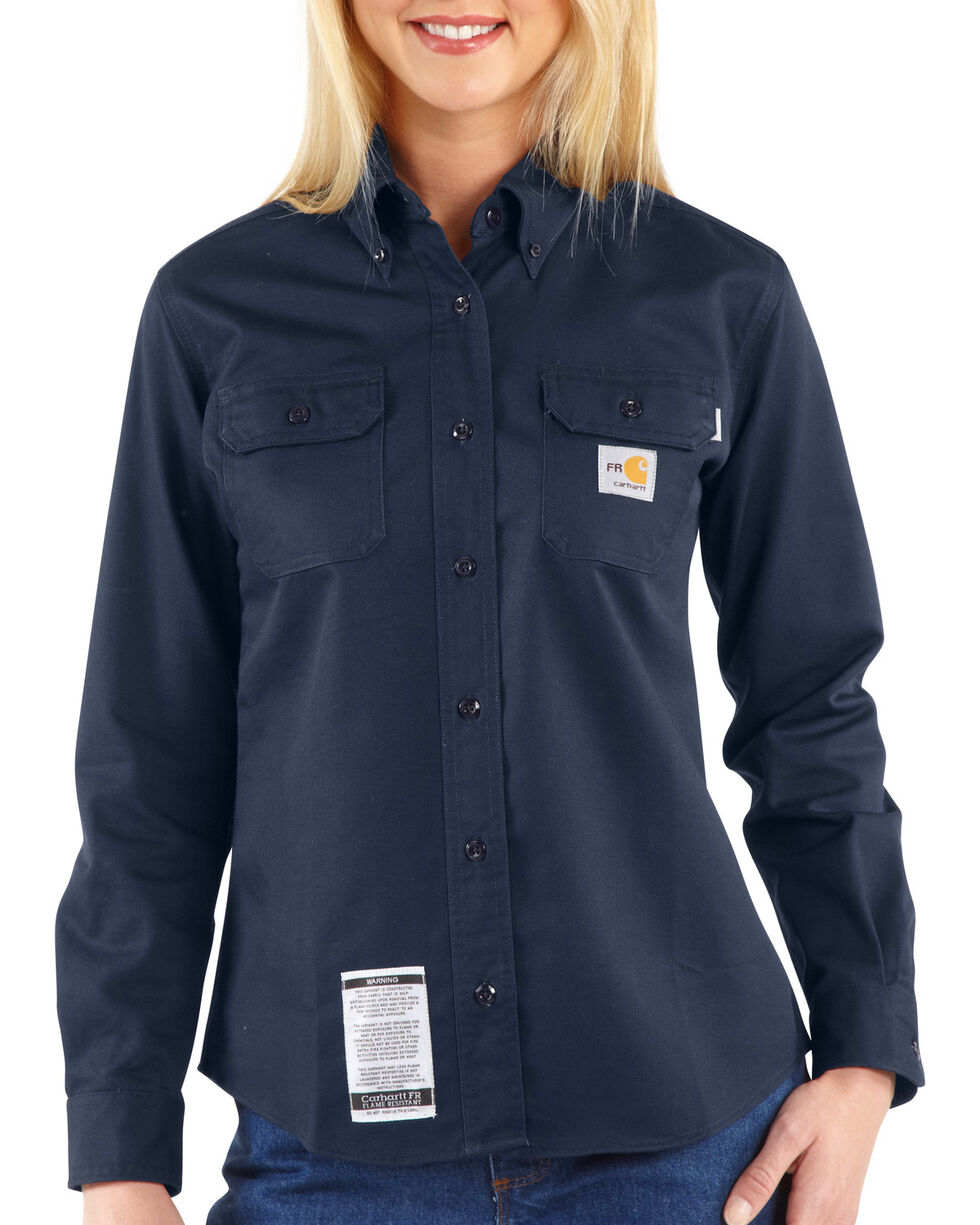 Carhartt Women's Flame-Resistant Twill Work Shirt, Navy, hi-res