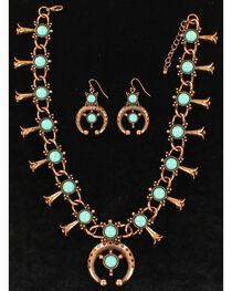 Blazin Roxx Women's Squash Blossom Copper Jewelry Set , , hi-res
