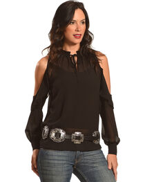 HYFVE Women's Cold Shoulder Ruffle Blouse, , hi-res