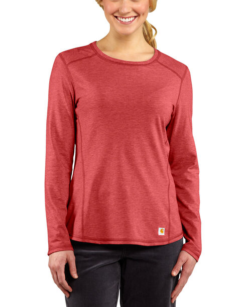 Carhartt Force Long Sleeve Top, Coral, hi-res