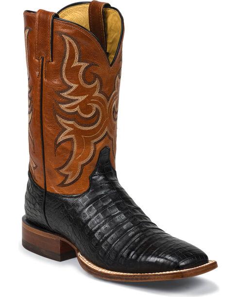 Justin Men's Vintage Caiman Exotic Western Boots, Black, hi-res