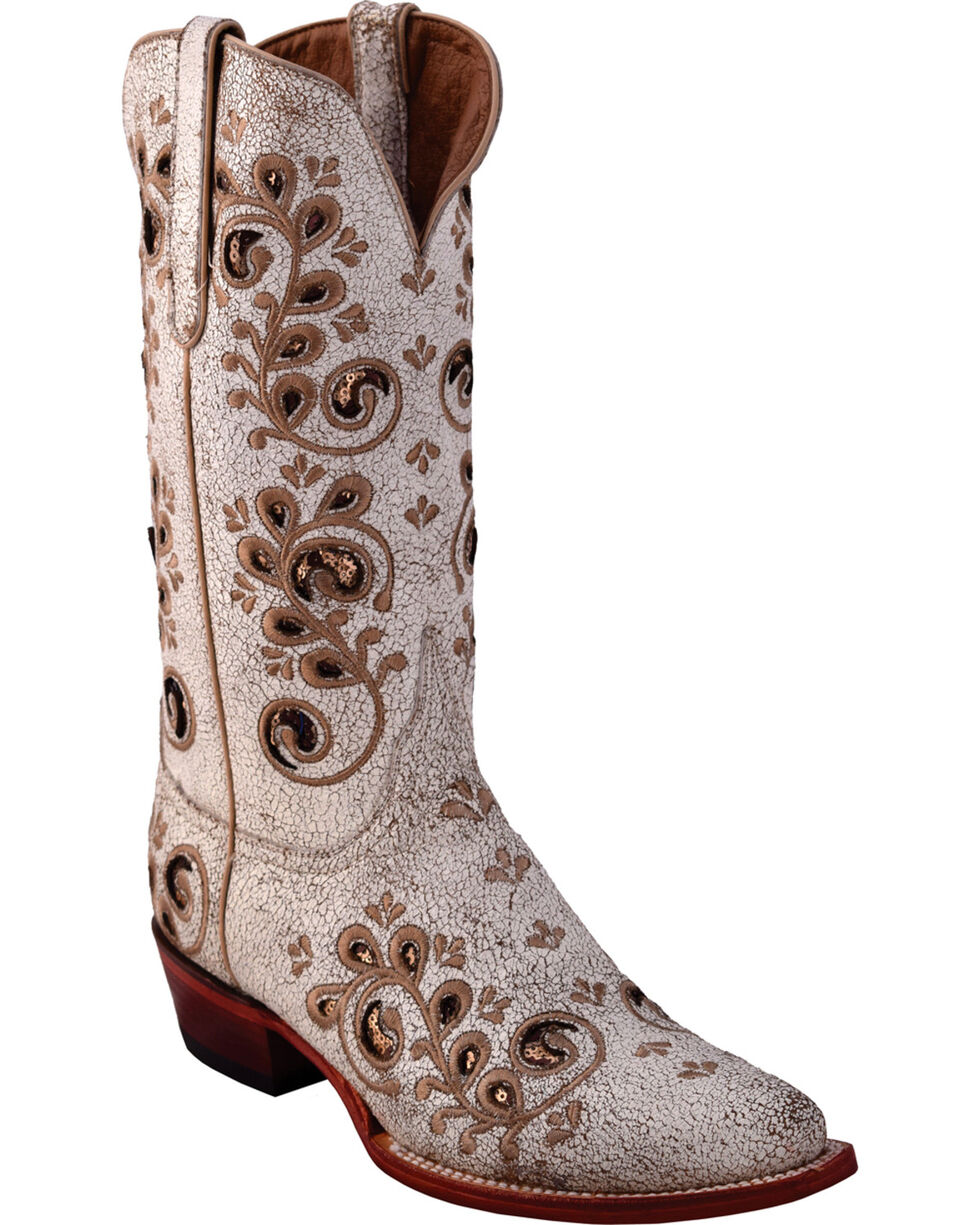 Ferrini Women's Brown Rockin' Cowgirl Leather Boots - Round Toe , Brown, hi-res