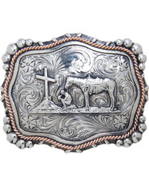 "AndWest Vintage ""Mission"" Praying Cowboy Belt Buckle, , hi-res"