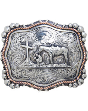 "AndWest Vintage ""Mission"" Praying Cowboy Belt Buckle, Two Tone, hi-res"