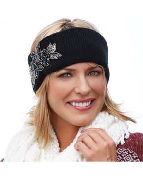 Shyanne® Women's Floral Beaded Ear Warmer, Black, hi-res