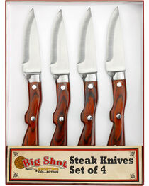 Big Sky Carvers Big Shot Western Steak Knives , Brown, hi-res