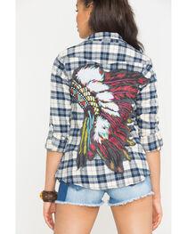 Bohemian Cowgirl Women's Cream Indian Spirit Flannel Shirt , , hi-res