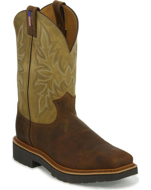 Justin Men's Scottsbluff Steel Toe Work Boots, Brown, hi-res