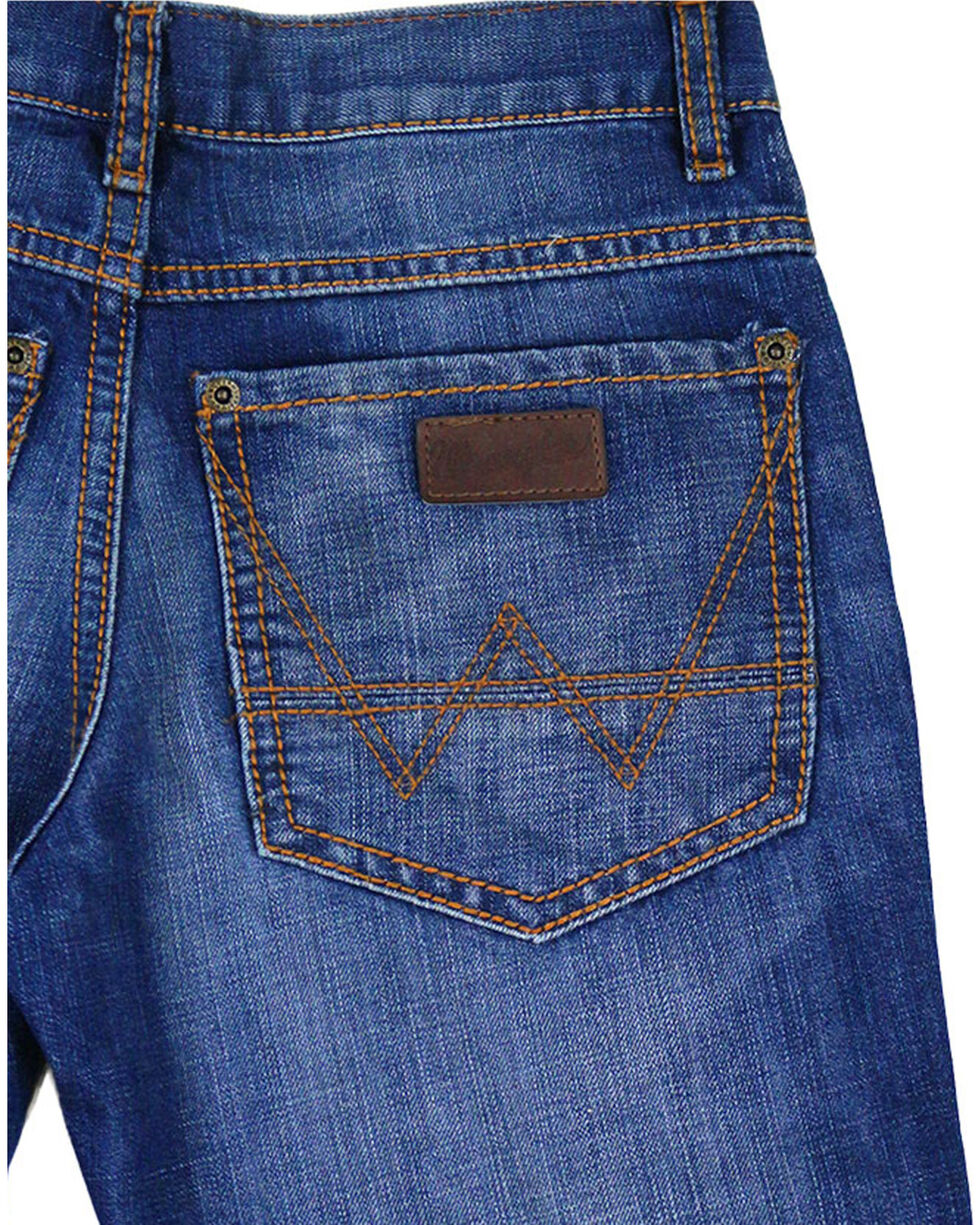 Wrangler Boys' Retro Relaxed Boot Cut Premium Denim Jeans, Blue, hi-res