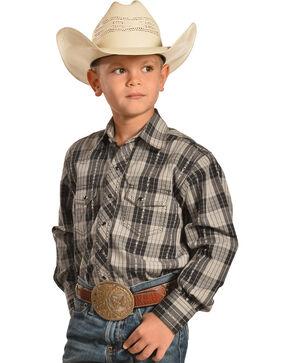 Crazy Cowboy Boys' Black Plaid Dobby Western Snap Shirt , Black, hi-res