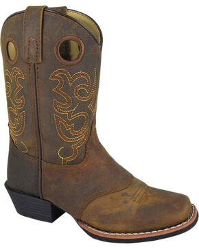 Smoky Mountain Youth Boys' Sedona Western Boots - Square Toe, Brown, hi-res