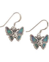 Silver Legends Women's Lavender Opal Butterfly Dangle Earrings, , hi-res