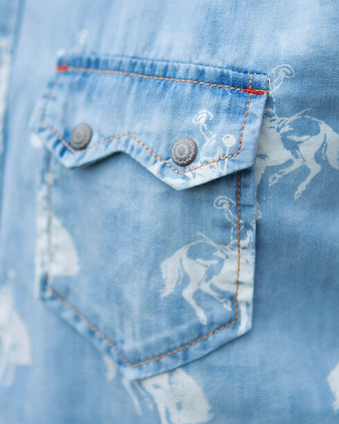Ryan Michael Men's Bucking Horse Indigo Print Western Shirt, Indigo, hi-res