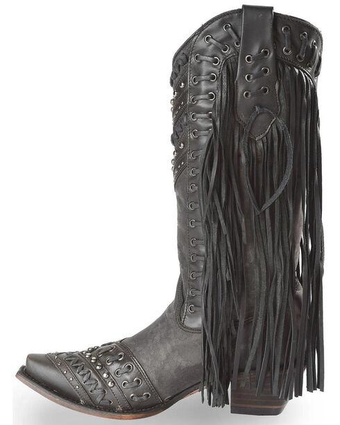 Corral Women's Studded Side Fringe Western Boots, Black, hi-res