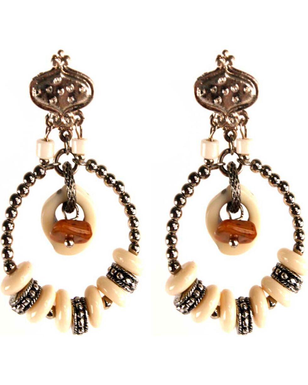 Treska Women's Post With Beaded Hoop Earrings, White, hi-res