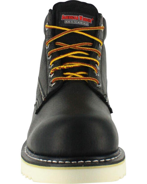 "American Worker Men's 6"" Lace Up Work Boots - Round Toe, Brown, hi-res"