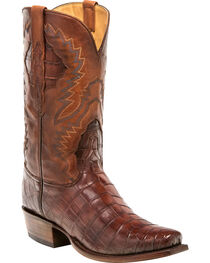 Lucchese Men's McKinley Dark Cognac Nile Crocodile Western Boots - Square Toe, , hi-res